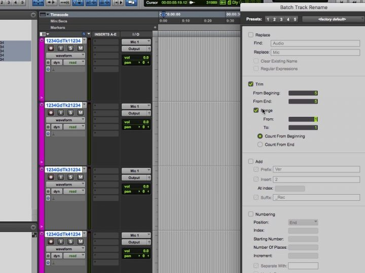Rename Groups of Tracks and Clips in Pro Tools 12.8.2 with Batch Rename