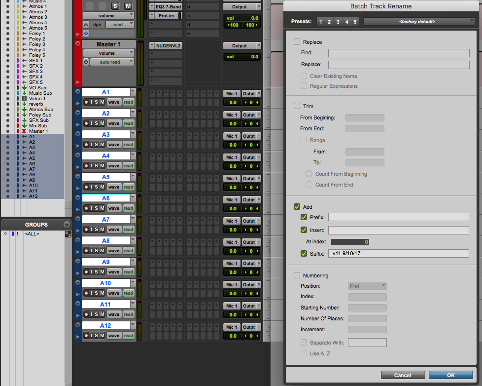 Rename Groups of Tracks and Clips in Pro Tools 12 8 2 with Batch Rename