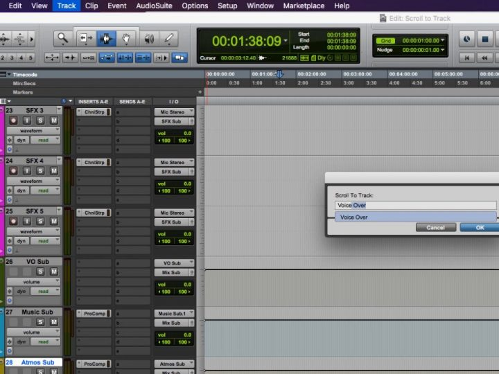 Find Tracks with Ease using Scroll to Track in Pro Tools 12.8.2