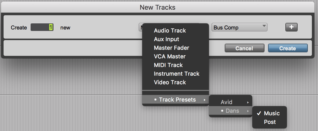 Track Presets in Pro Tools 2018