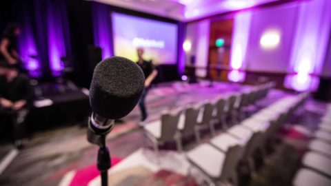 Open mic concept announcing predictions for media and entertainment industry
