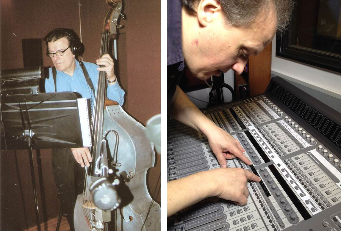 Pictured left: Grammy-winning bassist Vince Giordano recording with his 1920s aluminum upright bass at BeSharp. Photo by Chip Deffaa. Pictured right: Photo of me preparing a control surface with braille labels.